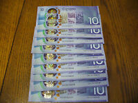 LOT OF 9  2017  10$  CANADA  TEN DOLLAR  BILLS  90$  FACE VALUE   IN  SEQUENCE