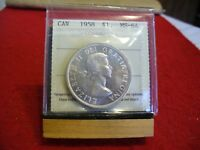 1958  CANADA  SILVER  DOLLAR  COIN   I.C.C.S.   GRADED   MS 64   SEE PHOTOS