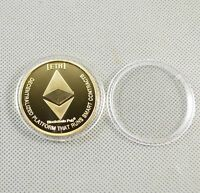 ETHEREUM COIN GOLD PLATED COMMEMORATIVE COLLECTIBLE IRON MINER COIN XMAS GIFT