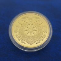 COMMEMORATIVE COIN COLLECTION TIBETAN BUDDHIST PESTLE GOLDEN COINS MONEY BUDDHA