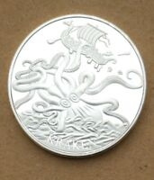 COMMEMORATIVE COIN COLLECTION OCTOPUS PIRATE SHIP SEA ANIMAL MYTHOS STORY KRAKEN