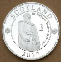 COMMEMORATIVE COIN COLLECTION WILLIAM WALLACE 2017 SCOTLAND SHIELD MONEY SILVERY