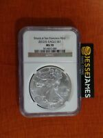 2012 S $1 AMERICAN SILVER EAGLE NGC MS70 STRUCK AT SAN FRANCISCO BROWN LABEL