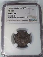 1864/1864 TWO CENT LARGE MOTTO NGC MS55 BN :  OVERDATE VP-005 VARIETY  :