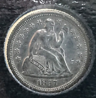 1857 O 10C SEATED LIBERTY DIME AU CLEANED NEW ORLEANS MINT