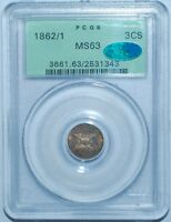 1862/1 PCGS MS63 CAC FS 301 OVERDATE 3 CENT SILVER 3CS OGH