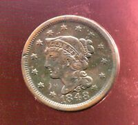 1848 BRAIDED HAIR COPPER LARGE CENT EXTRA FINE EXTRA FINE
