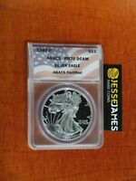 1997 P PROOF SILVER EAGLE ANACS PR70 DCAM FLAG LABEL BETTER DATE