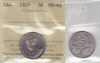 1929 ICCS MS62 5 CENTS  FAR? S  CANADA FIVE NICKEL