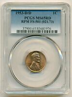 1953 D/D LINCOLN WHEAT CENT RPM VARIETY FS-501 MINT STATE 65 RED PCGS
