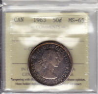 1963 ICCS MS65 50 CENTS CANADA FIFTY HALF DOLLAR SILVER TONED