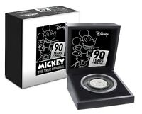 2018  DISNEY MICKEY MOUSE 90TH ANNIVERSARY ULTRA HIGH RELIEF   2 OZ. SILVER COIN