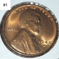 LINCOLN WHEAT CENT BU LOT 1948-D  4 RED COINS