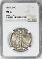 1944 WALKING LIBERTY HALF DOLLAR NGC MS 63 NICE TONING