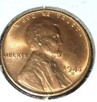 LINCOLN WHEAT CENT LOT BU 1945-S, 1946-D, 1946-S, 1947-D  1948-D 5 RED COINS