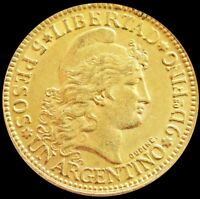 1896 GOLD ARGENTINA 5 PESOS 8.06 GRAMS ARGENTINO CAPPED LIBE
