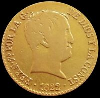 1822 GOLD SPAIN 80 REALES 6.77 GRAMS FERDINAND VII COIN MADR