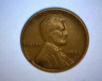 1924 D LINCOLN CENT,  >SEMI-KEY COIN<  V/F  FULL WHEAT LINES US  COIN