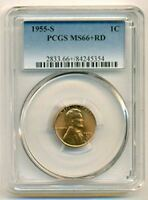 1955 S LINCOLN WHEAT CENT UNC MINT STATE 66 RED PCGS