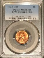 1934-D/D U.S. WHEAT CENT LINCOLN PENNY PCGS MINT STATE 65 RED RPM FS-504 013.8 VARIETY