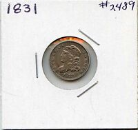 1831 H10C CAPPED BUST SILVER HALF DIME. ALMOST UNCIRCULATED. LOT 2175