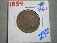 1854 BRAIDED HAIR LARGE CENT/ BEST BUY