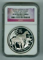 AUSTRALIA 2014 $1 YEAR OF THE HORSE 1 OZ. .999 SILVER NGC PF-69 ULTRA CAMEO