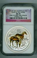 AUSTRALIA 2014 $1 YEAR OF THE HORSE GILT GOLD 1 OZ. .999 SILVER NGC MS-70