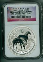 AUSTRALIA 2014 $1 YEAR OF THE HORSE 1 OZ. SILVER NGC BRILLIANT UNCIRCULATED