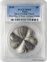 2018 $5 PALAU SILVER FORTUNE CLOVER ANTIQUE 1OZ .999 SILVER COIN PCGSMS69 FD