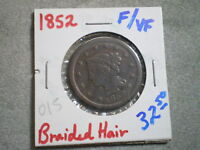 1852 BRAIDED HAIR LARGE CENT/ COOL COIN