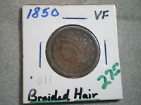 1850 BRAIDED HAIR LARGE CENT/ COOL COIN--WONDERFUL STARTER COIN FOR CHILD