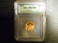 1954 PR69 RD LINCOLN CENT PROOF PENNY 1C - BY ICG HIGH PRICE GUIDE VALUE