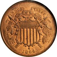 1864 2C TWO-CENT PIECE. LARGE MOTTO. MINT STATE 64 RB NGC. CAC.