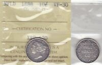 1888 ICCS VF30 10 CENTS  1/1 8/8  NEWFOUNDLAND NFLD NF TEN DIME SILVER