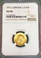 1912 GOLD GREAT BRITAIN HALF SOVEREIGN GEORGE V COIN NGC ABO