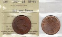 1897 ICCS MS65 1 CENT RED AND BROWN CANADA ONE PENNY LARGE