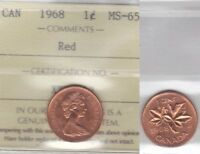 1968 ICCS MS65 1 CENT RED CANADA ONE PENNY