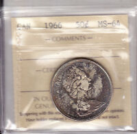 1966 ICCS MS64 50 CENTS CANADA FIFTY HALF DOLLAR SILVER TONED OBVERSE