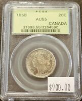 CANADA 1858 TWENTY CENTS IN PCGS AU55 CONDITION. 972