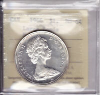 1966 ICCS MS64 $1 LARGE BEADS HEAVY CAMEO CANADA SILVER DOLLAR ONE