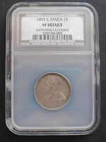 1892 SOUTH AFRICA SHILLING , NGC - NCS  VF DETAILS  ,  SILVER COIN, .