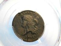 1793 HALF CENT 1/2C PCGS VF W/ PLANCHET FLAW MINTING ERROR - BEAUTIFUL COIN