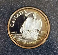 CANADA 1997 10 CENT STERLING SILVER DIME CABOTO COMMEM PROOF. 1293
