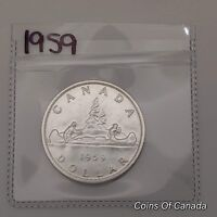1959 CANADA SILVER $1 DOLLAR COIN   SEALED IN ACID FREE PACK