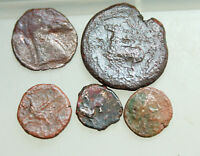 LOT OF  5X GREEK BRONZE COINS SICILY  D 14 25MM