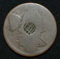 US 1794 FLOWING HAIR LARGE CENT AG/POOR MULTIPLE COUNTERMARK