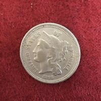 .03C 1866 3 CENT NICKEL AU TO UNCIRCULATED CONDITION RARE &