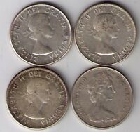 LOT OF 4 CANADIAN SILVER 50 CENT COINS