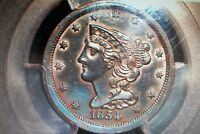 1854 BRAIDED HAIR HALF CENT 1 PCGS CERTIFIED AU DETAILS